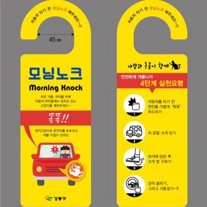 강동구, 길고양이 급식소에 이어 모닝노크 캠페인 진행
