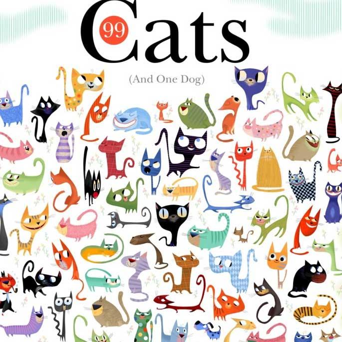 99마리 고양이와 1마리 개가 있는 포스터