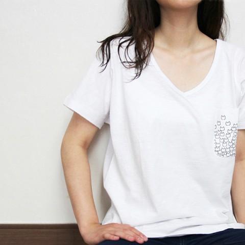 슬럽 고양이 포켓 티셔츠